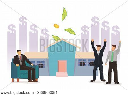 Business Men Happy With The Rising Cost Of Their Property. Concept Of Property Investment. Vector Il