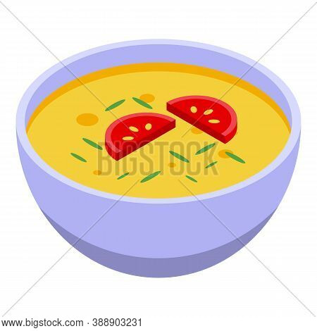 Soup With Rosemary Icon. Isometric Of Soup With Rosemary Vector Icon For Web Design Isolated On Whit