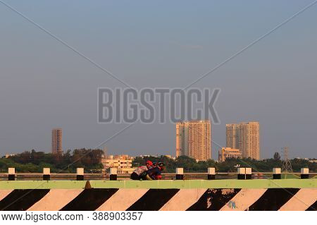 Chennai, Tamil Nadu , India . Oct 07,2020. Near The City Of Being Built Very Big High Modern Buildin