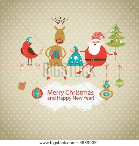 Greeting card, Christmas card with Santa Claus ,deer and little bird