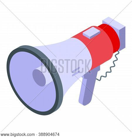 Rescuer Megaphone Icon. Isometric Of Rescuer Megaphone Vector Icon For Web Design Isolated On White