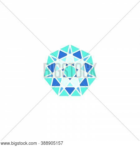 Mosaic Stained Glass Logo With A Heptagon Star Shape