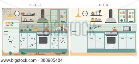 Flat Vector Illustration Of Kitchen Interior Before And After Cleaning