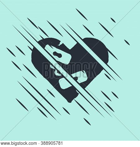 Black Healed Broken Heart Or Divorce Icon Isolated On Green Background. Shattered And Patched Heart.