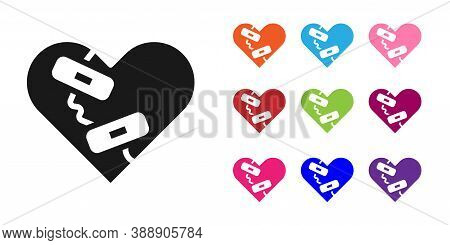 Black Healed Broken Heart Or Divorce Icon Isolated On White Background. Shattered And Patched Heart.