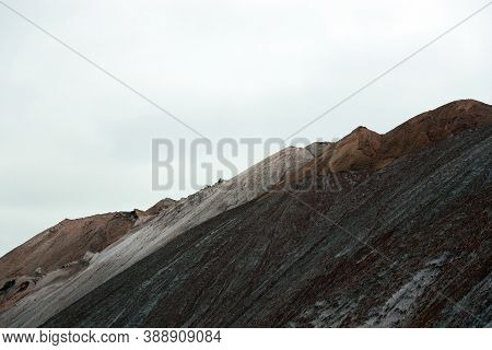 Scenic Martian Landscape, Beautiful Mountain Landscape With Salt Mountains And Sand Ground. Salt Pla