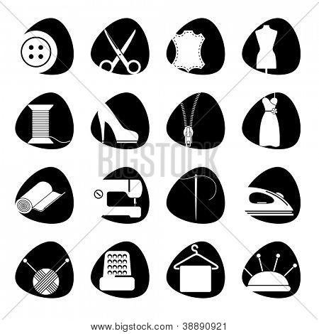 Vector illustration of icons on the subject of sewing