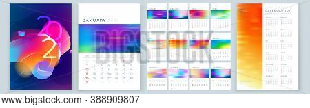 Calendar Template For 2021 Year. Planner Wall Or Desk Calendar Template Layout Design With Place For