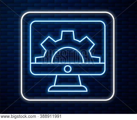 Glowing Neon Line Software, Web Development, Programming Concept Icon Isolated On Brick Wall Backgro