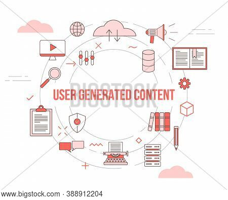 Ugc User Generated Content Concept With Icon Set Template Banner With Modern Orange Color Style And