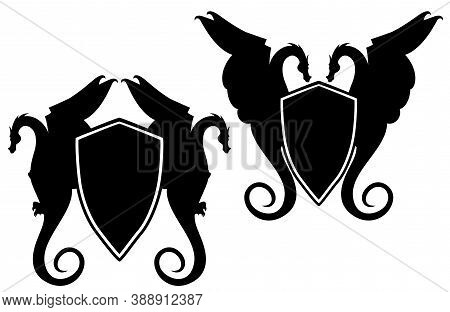 Pair Of Mythical Dragons And Heraldic Shield - Black And White Vector Fantasy Style Coat Of Arms Des