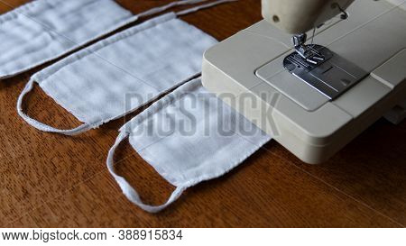 A Protective Gauze Bandages For The Face Close To A Sewing Machine. Basic Protection Against Coronav