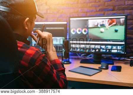 Asian Creative Man And Editor Video Work Vlogger Editing Video Create Content For Upload On Social M