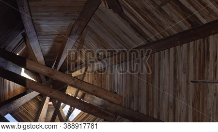 Inside The Wooden Dome Of The Church. Interior Of Old Tower