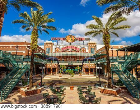 Tampa, Florida, Usa - January 11, 2020 : Centro Ybor Shopping Center With Retailers, Restaurants And