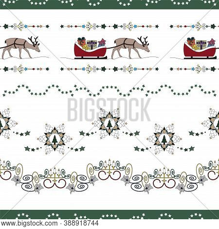 Christmas Seamless Pattern. Reindeer And His Sleigh Full Of Gifts. Star Garland, Christmas Tree And