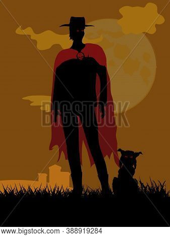Black Silhouette Of Creepy Man Red Eyes With Hat And Red Cloak With Skull Button And Spooky Cat With