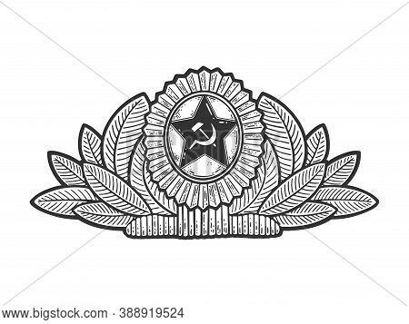 Soviet Military Cockade Sketch Engraving Vector Illustration. T-shirt Apparel Print Design. Scratch