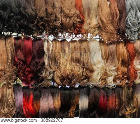 Colorful Real And Fake Hair Wigs Sold On Outside Market