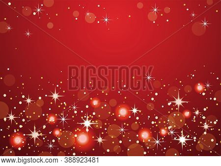 Red Abstract Bokeh Background. Christmas And New Year Holidays Vector Illustration.