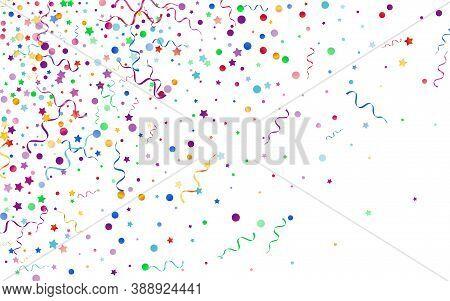 Colored Serpentine Happy Vector White Background. Celebrate Streamer Design. Particles Party Invitat