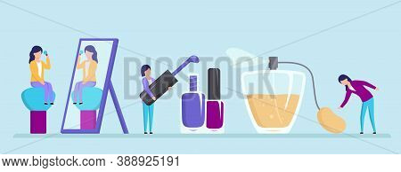Beauty And Style Concept. Female Characters Powdering Face In Front Of Big Mirror, Holding Brush Fro