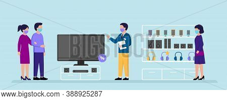 Electronics Store Concept. People Choosing Home Appliances To Buy At The Electronics Supermarket. Th