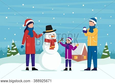 Family Winter Outdoor Pastime Concept. Male And Female Characters In Winter Clothes Together With A