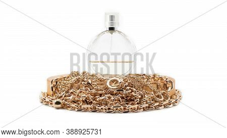 Elite Perfume And Jewels. Gold Chains. Concept For An Elite Perfumery Store And A Jewelry Salon