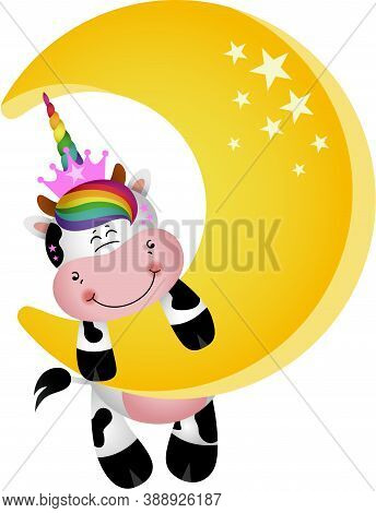 Scalable Vectorial Representing A Cute Unicorn Cow Hanging On Moon, Element For Design, Illustration
