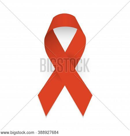 Red Awareness Ribbon. Symbol Of Aids, Prader Willi Syndrome Awareness. International Day Of Persons