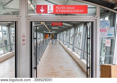 Fromentine, Vendee, France - September 28, 2020: Access Ramp To The Boarding Lounge (acces Salle D E