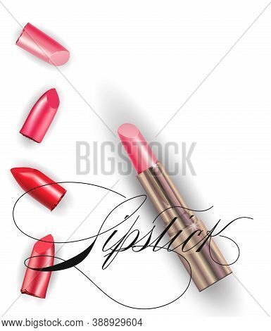 Pink Lipstick And Collection Of Various Smears Lipstick On White Background. Beauty And Cosmetics Ba