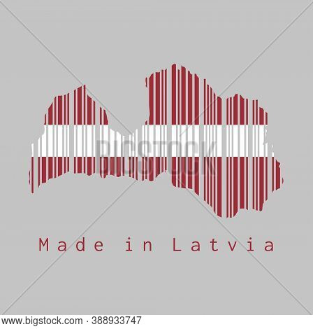 Barcode Set The Shape To Latvia Map Outline And The Color Of Latvia Flag On Grey Background, Text: M