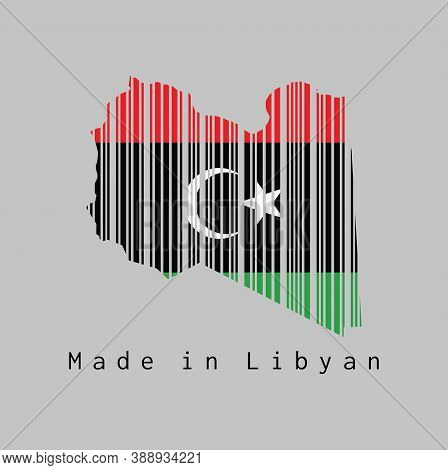 Barcode Set The Shape To Libya Map Outline And The Color Of Libya Flag On Grey Background, Text: Mad
