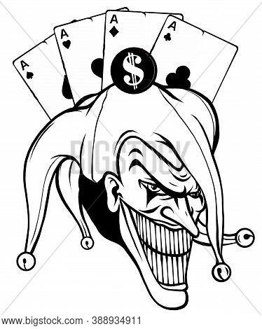 Vector Fantasy Illustration Of A Joker Vampire Zombie Wearing A Clown Hat