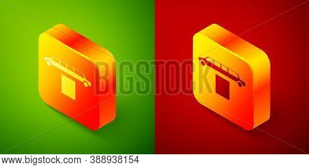 Isometric Luxury Limousine Car And Carpet Icon Isolated On Green And Red Background. For World Premi