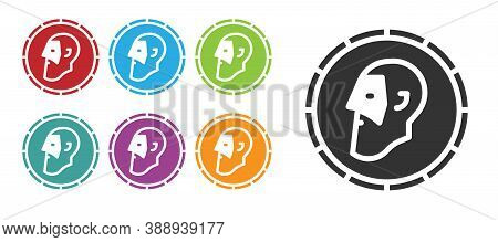Black Ancient Coin Icon Isolated On White Background. Set Icons Colorful. Vector