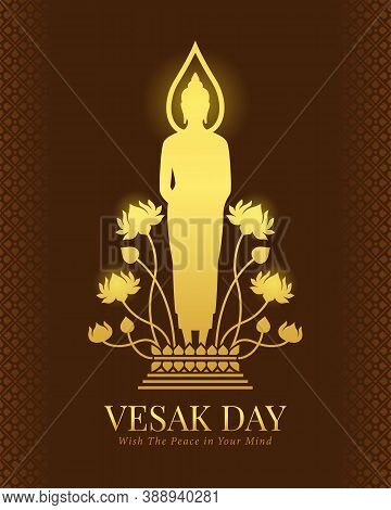 Vesak Day Banner With Gold Buddha Standing On A Lotus Pedestal Sign On Brown Background Vector Desig