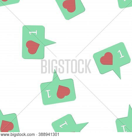Like, Comment, Social Activity Vector Icon. The Hand Presses On The Likes Seamless Pattern On A Whit