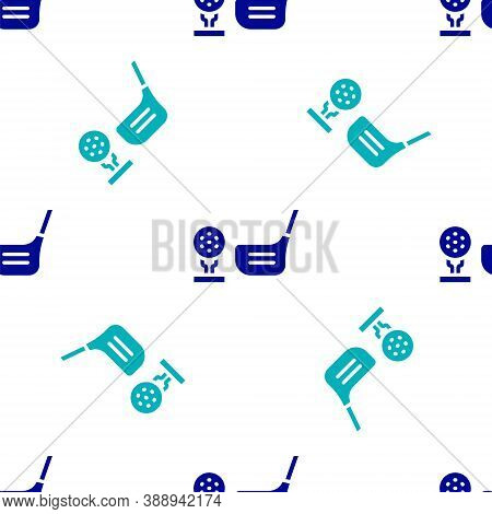 Blue Golf Flag And Golf Ball On Tee Icon Isolated Seamless Pattern On White Background. Golf Equipme