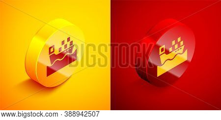 Isometric Cargo Ship With Boxes Delivery Service Icon Isolated On Orange And Red Background. Deliver