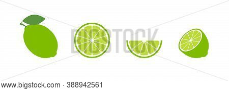 Lime Set Green Flat Icon On White Background. Lemon Citrus Isolated Vector