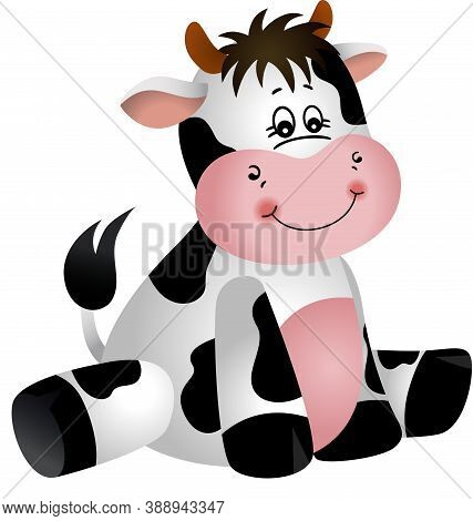 Scalable Vectorial Representing A Friendly Cow Sitting, Element For Design, Illustration Isolated On