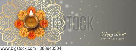 Traditional Diwali Festival Banner With Diwali Oil Lamp, Marigold Flowers And Mandala Ornament. 3d V