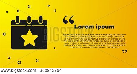Black Day Calendar With Date July 4 Icon Isolated On Yellow Background. Usa Independence Day. 4th Of