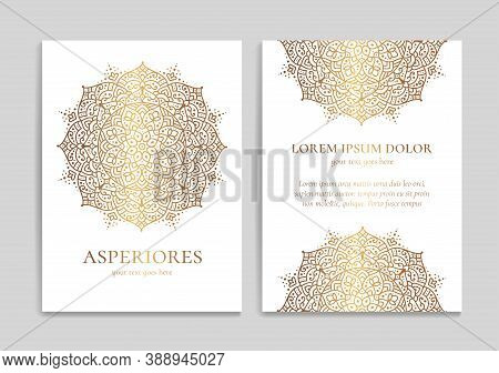 White And Gold Luxury Invitation Card Design With Vector Mandala. Vintage Ornament Template. Can Be