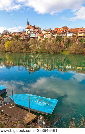 Boat At Krka River In Novo Mesto Slovenia
