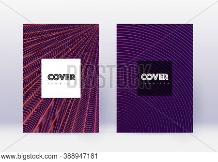 Hipster Cover Design Template Set. Violet Abstract Lines On Dark Background. Curious Cover Design. O