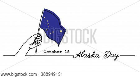 Alaska Day Simple Web Banner With Flag And Hand. Minimalist Vector Border, Background. One Continuou
